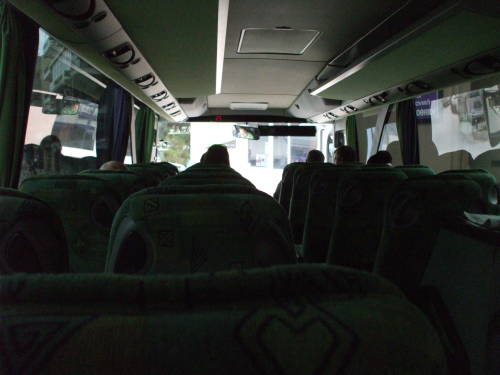 View forward on board a Greek bus.