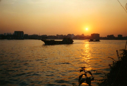 Sunset over the Pearl River in Guangzhou.