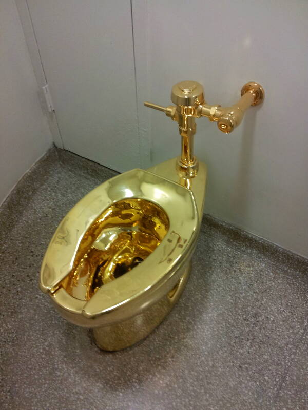 Solid gold toilet 'America' Fluxus artwork at the Guggenheim Museum in New York.