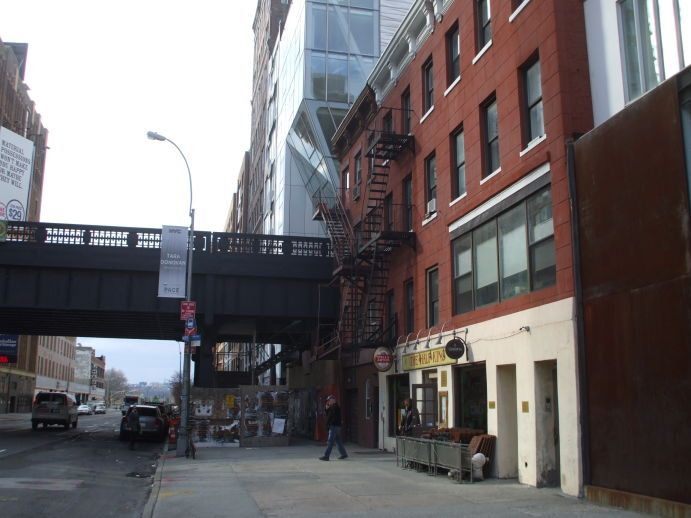 Entrance to Half King bar and restaurant in Chelsea area of New York, below the High Line elevated park.