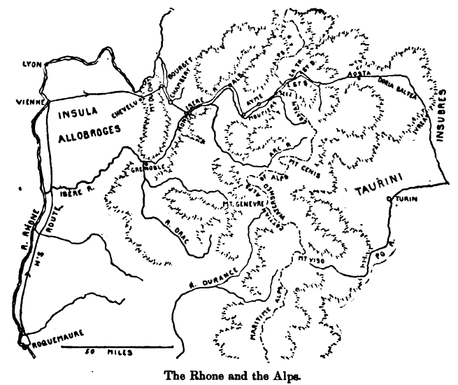 Hannibal's possible routes through the Alps from the Rhône to Italy. From Theodore Ayrault Dodge's 'Hannibal', 1891.