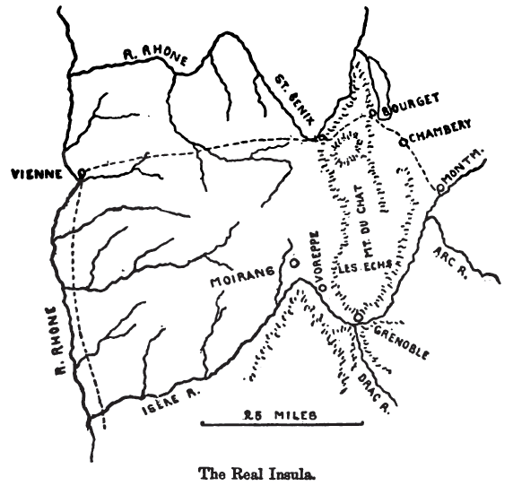 Hannibal's possible routes from the Rhône to the Alps. From Theodore Ayrault Dodge's 'Hannibal', 1891.