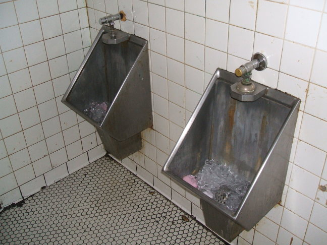 Ice-cooled urinals in Harry's Chocolate Shop, West Lafayette, Indiana.