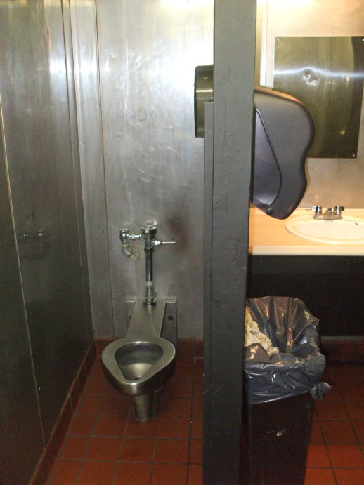 American stainless-steel toilet in West Lafayette, Indiana.