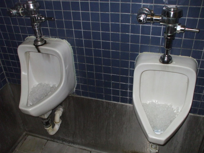 Two ice-cooled urinals in the Hawk and Dove, Washington DC.