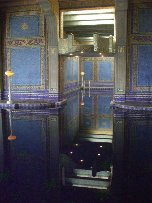 Indoor pool with gilding and ceramic tiles at William Randolph Hearst's estate at San Simeon, California.