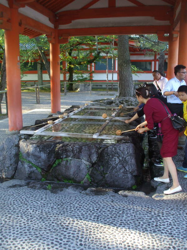 Chōzuya or pavilion holding the ablutions basin or chōzubachi at Heian-jingū in Kyōto.
