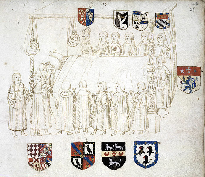 The deathbed of Henry VII in 1509, from https://commons.wikimedia.org/wiki/File:HenryVIIdeathbed.jpg