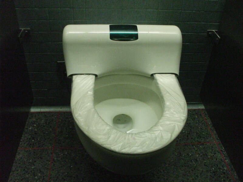 Uncomfortable toilet at O'Hare Airport in Chicago