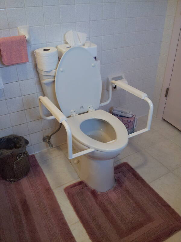Assistive hand rails added to a home toilet, with the seat down.