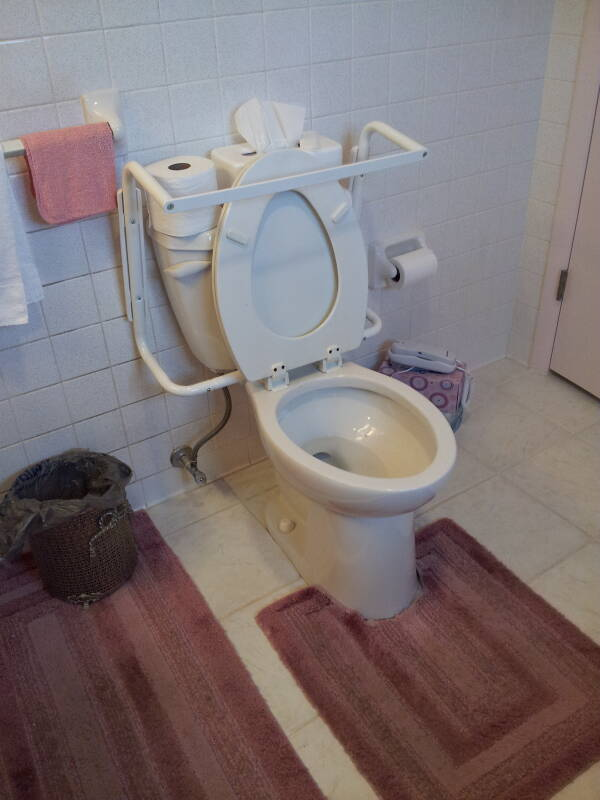 Assistive hand rails added to a home toilet, with the seat and hand rails raised.