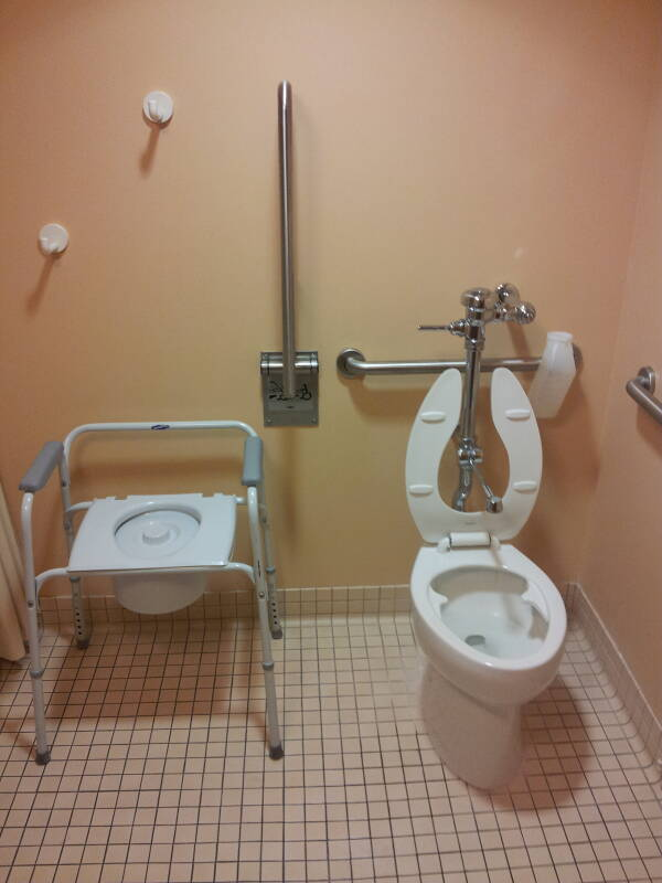Hospital toilet and portable 'three-in-one' toilet unit.