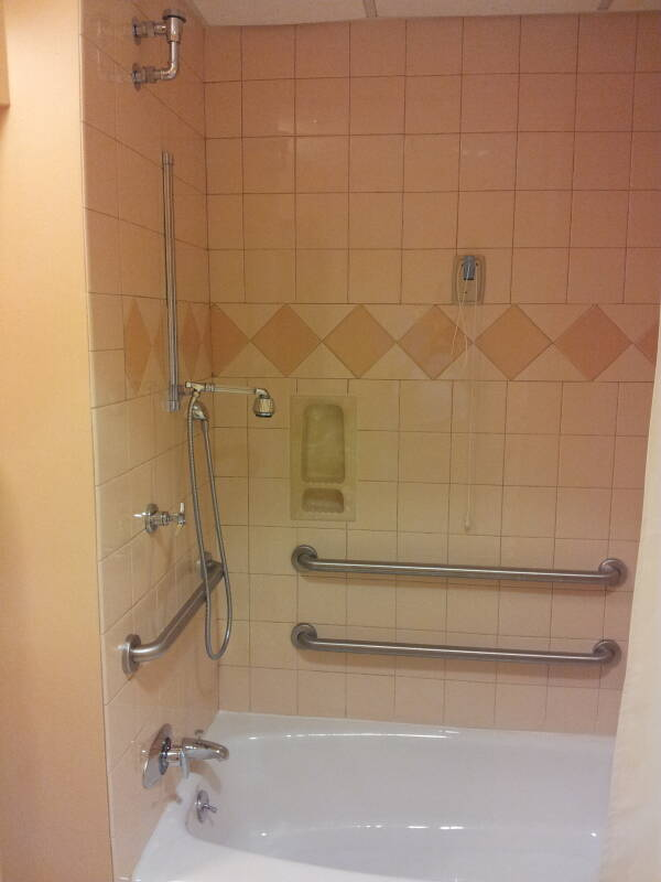 Hospital bathtub and shower with many hand rails, call cord, and adjustable shower heads.