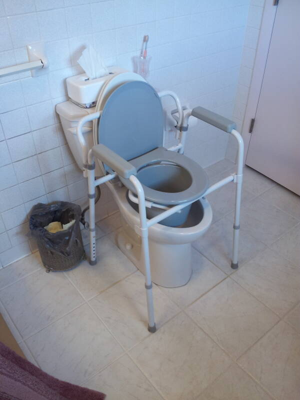 Portable 'three-in-one' commode unit in a home.
