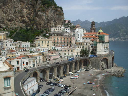 Italian town of Atrani on the Amalfitani coast west of Salerno