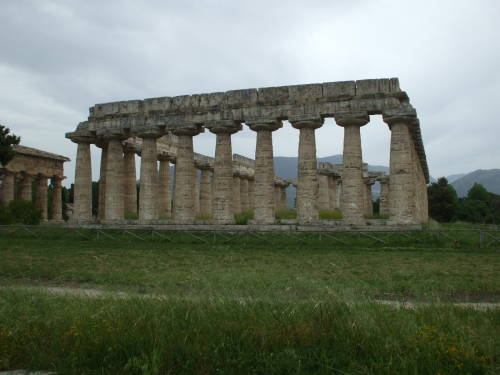 Temple of Hera at Paestum, south of Salerno, Italy.