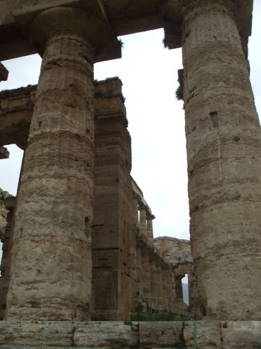 Interior of Temple of Apollo at Paestum, south of Salerno, Italy.