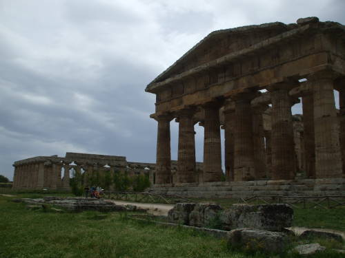 Temple of Hera and Temple of Apollo at Paestum, south of Salerno, Italy.