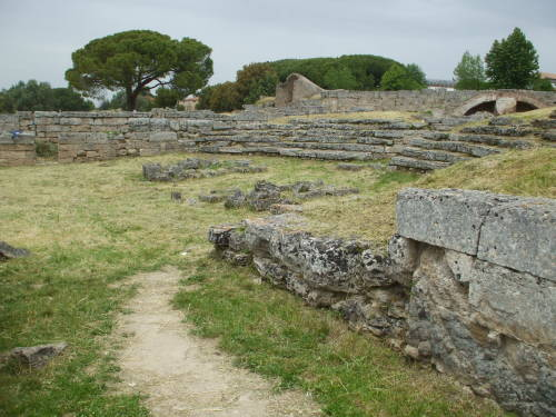 Amphitheatre at Paestum, south of Salerno, Italy.