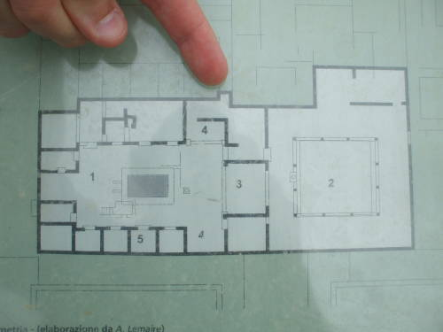 Plan of ancient house in Paestum, south of Salerno, Italy.