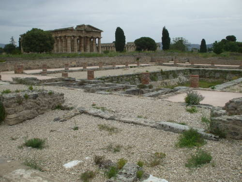 Swimming pool or public bath in Paestum, south of Salerno, Italy.