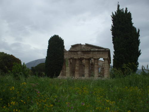 Temple of Athena at Paestum, south of Salerno, Italy.