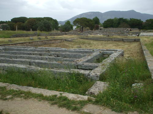 Supports for raised and heated floors in large public bath in Paestum, south of Salerno, Italy.