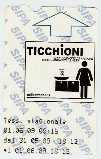 Public toilet ticket from Orvieto, Italy.
