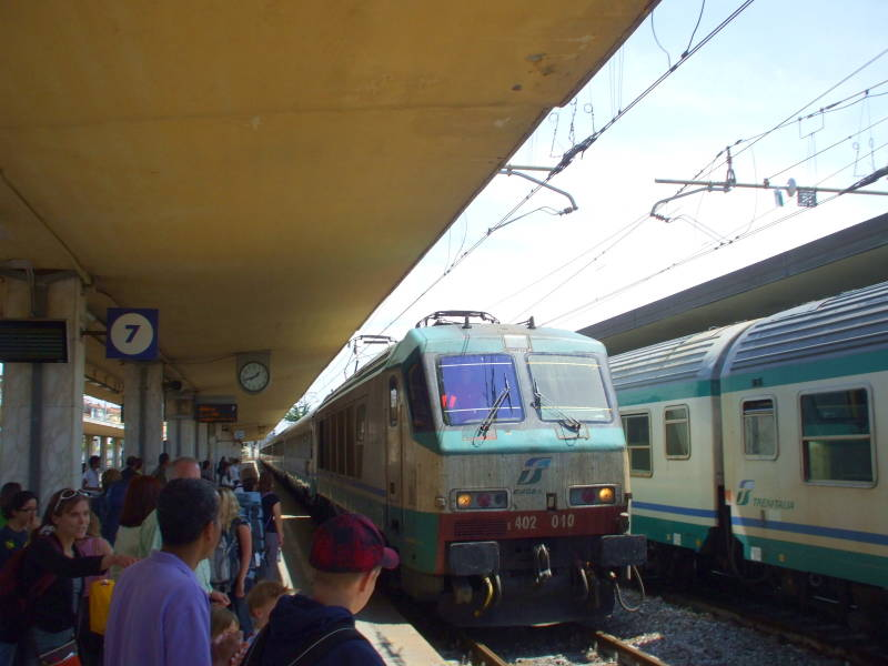 Italian train in the Firenze station.