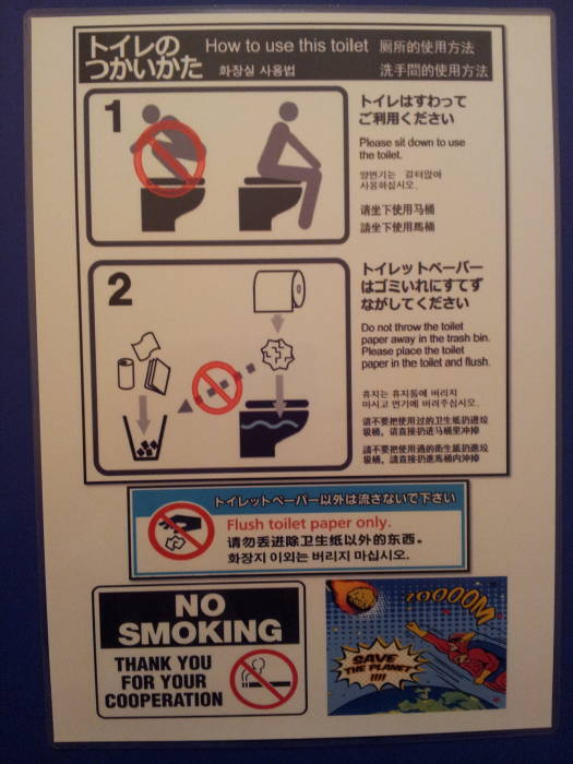 Instructional sign for a toilet at K's Place in Kyōto.