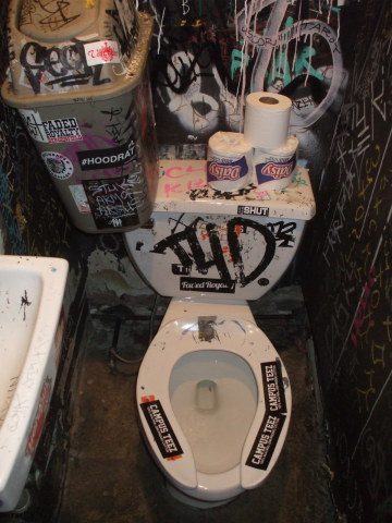 Toilet in Welcome To The Johnson's Bar on Rivington Street on the Lower East Side in New York.