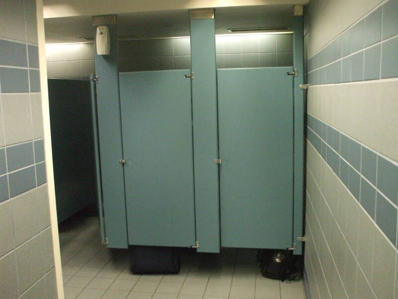 Men's restroom stall where U.S. Senator Larry Craig was arrested.  Police stall at right, Craig's stall immediately to its left.