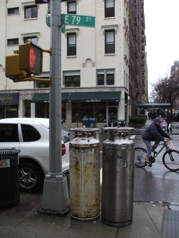 Dewar vacuum flasks of liquid nitrogen at Lexington Avenue and East 79th Street in New York, on the Upper East Side.