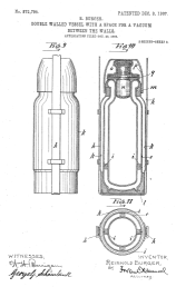 Patent drawing of Thermos brand insulating flask, U.S. Patent number 872,795.