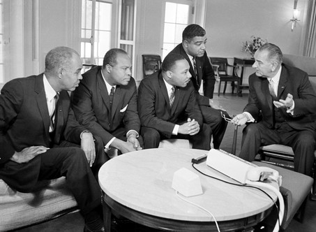 Lyndon Baines Johnson meeting with Civil Rights leaders.