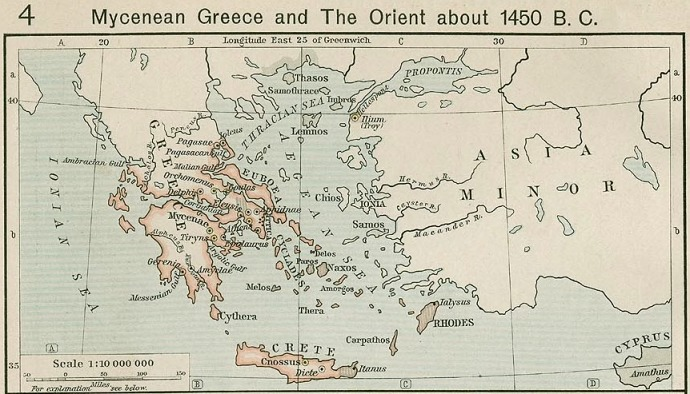 Map of Mycenean Greece and The Orient about 1450 B.C. from Shepherd's atlas.