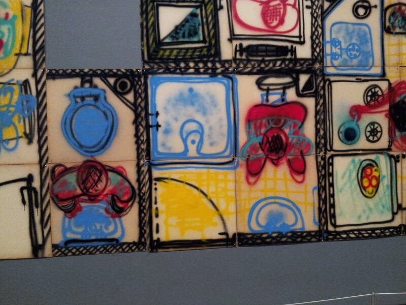 Cloindo Testa's panels of urban life in Buenos Aires, in the collection of the Museum of Modern Art in New York.
