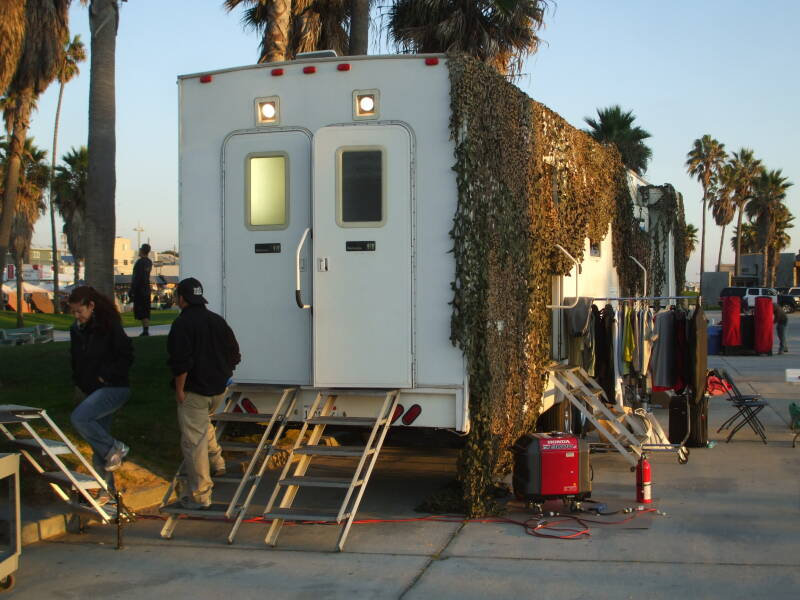 Film crew logistical truck at Venice Beach, California.