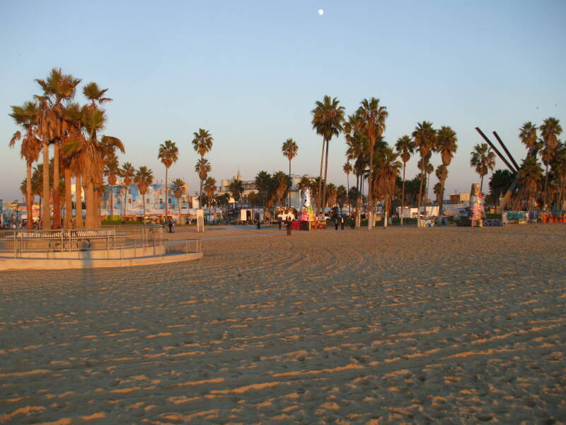 Sunset at Venice Beach, California.