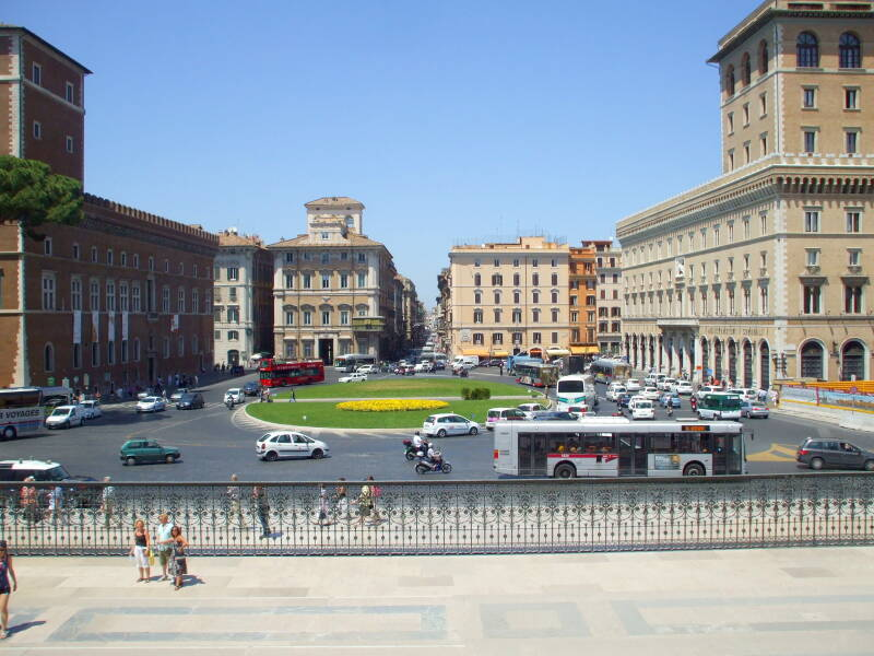 View from Monumento a Vittorio Emmanuelle II, also known as 'Mussolini's Typewriter', to the square overlooked by Mussolini's apartment and balcony.