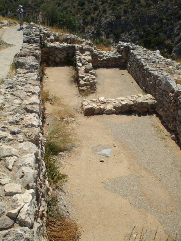Royal bedchamber in the main palace at Mycenae.