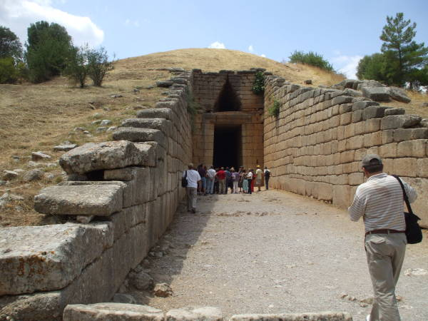 Tholos tomb called the 'Treasury of Atreus' or the 'Tomb of Agamemnon' at Mycenae.