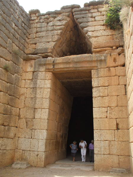 Entrance to a Tholos tomb called the 'Treasury of Atreus' or the 'Tomb of Agamemnon' at Mycenae.