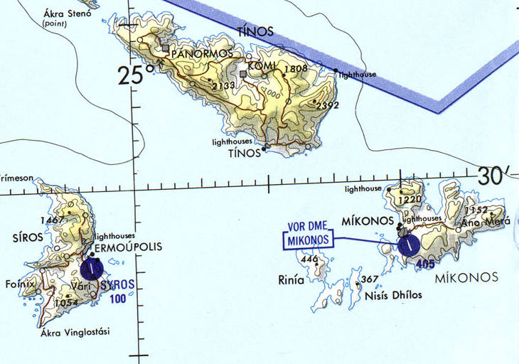 Aeronautical chart of the northern Aegean Sea, cropped to show Mykonos.