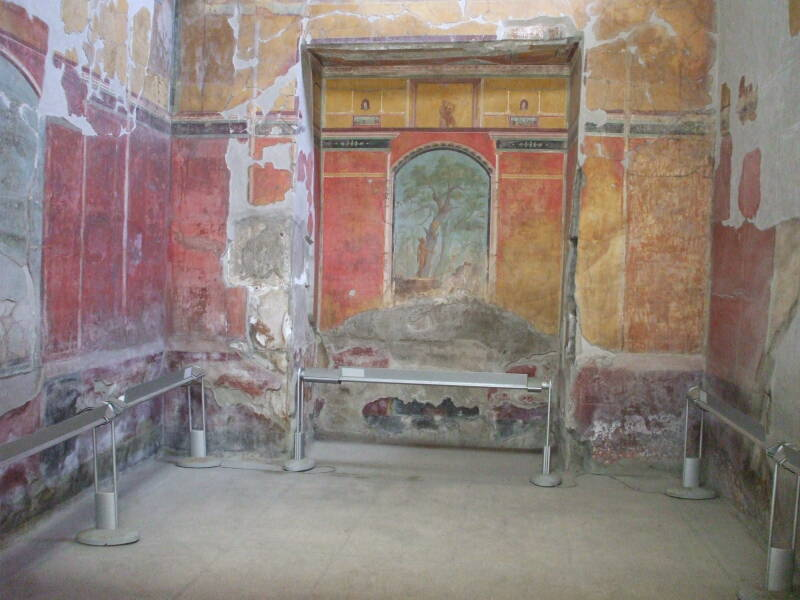 Fresco inside the Roman Emperor Nero's Villa Poppaea near Pompeii.