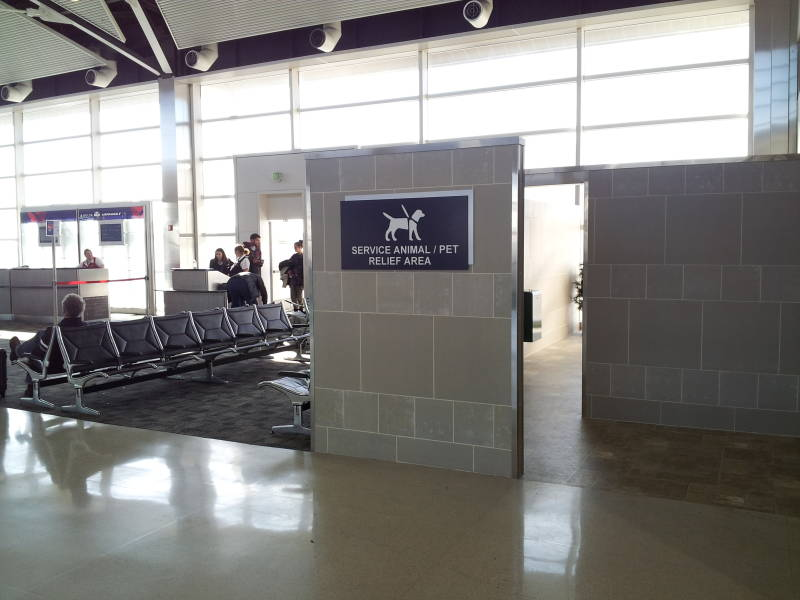 Service animal and pet relief area at Detroit airport.