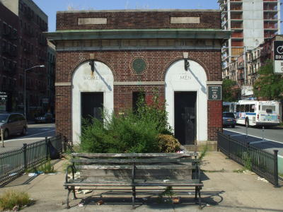 Public toilets along Delancey Street on the Lower East Side of Manhattan, New York.