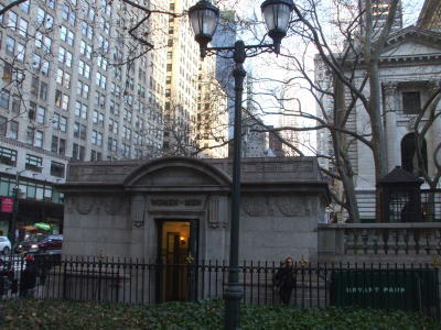Nice public toilet in Midtown Manhattan in Bryant Park behind the 42nd Street main New York Public Library building.