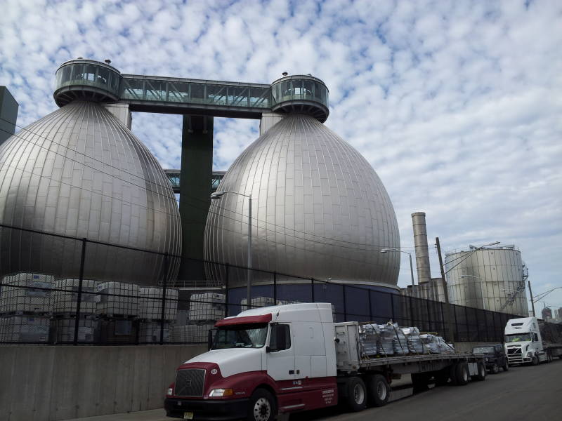 Anaerobic digestion tanks at the Newtown Creek Wastewater Treatment Plant.