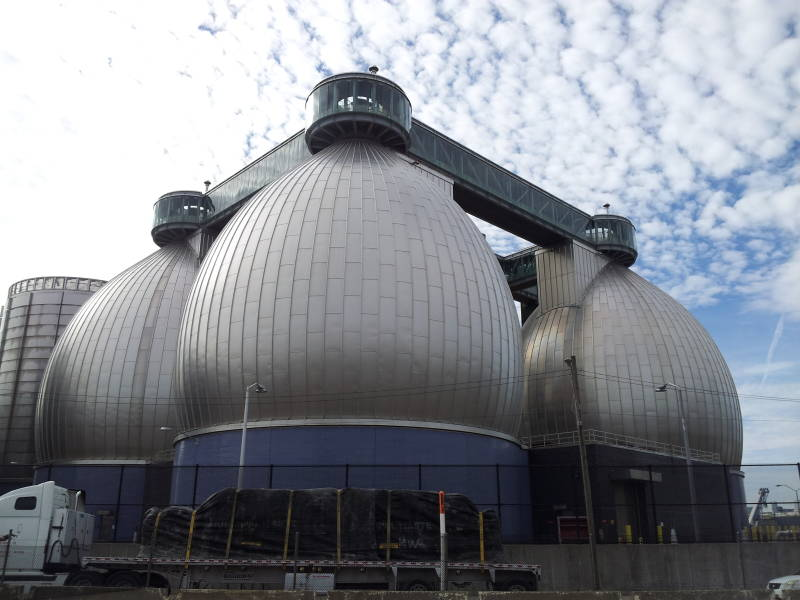 The digester 'eggs' at the Newtown Creek plant.